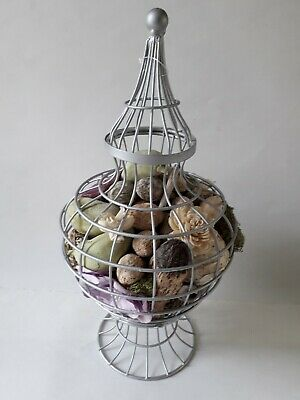 Metal Dome Bird Cage Potpourri Holder - Nuts, Drift Wood, Fruit, 40cm Tall U.S.A