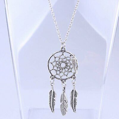 Boho Ethnic Tassel Feather Pendant Necklace Sweater Chain Womens Jewellery Gift