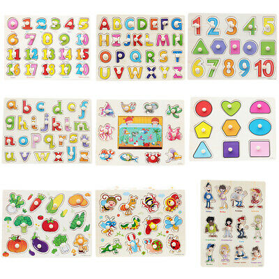 Wooden Alphabet Digit Jigsaw Puzzle Grasp Board Kids Early Educational Toys