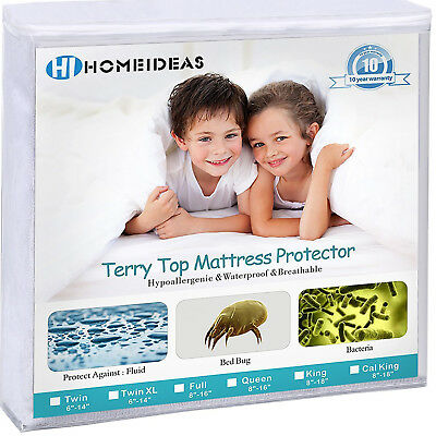 Waterproof Deep Pocket Mattress Protector Terry Cotton Breathable Fitted Cover