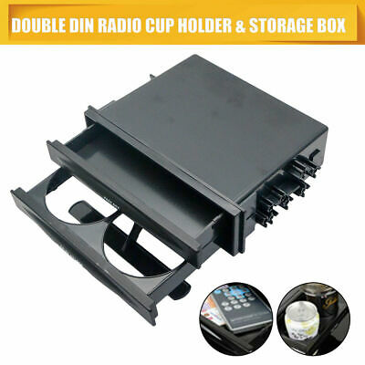Universal Car Double / Single Din Radio Pocket Drink Cup Holder + Storage Box UK