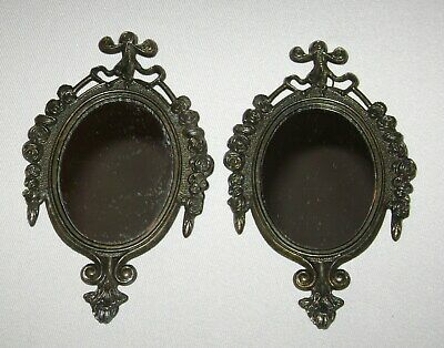 Vintage Pair of Small Wall Mirrors Ornate Cast Metal Frames Made in Italy