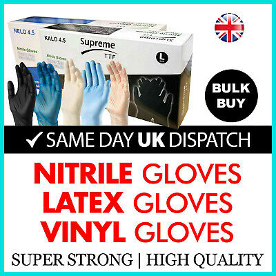 Disposable Latex, Black Nitrile or Blue Vinyl Gloves Powder Free Medical x 100