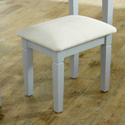 Grey dressing table vanity stool wooden painted seat cushioned bedroom furniture