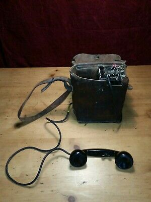 WWII U.S. Army Signal Corps EE-8-A Field Phone Leather Telephone With Case