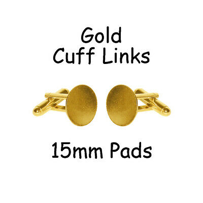 100 Cufflinks Cuff Link Gold Blanks Findings - 15mm Pads