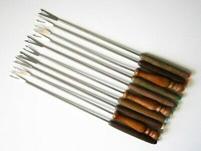 10x MIXED VINTAGE STAINLESS STEEL FONDUE FORKS with WOODEN HANDLES