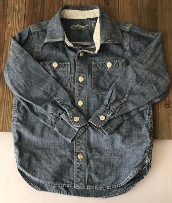 Baby GAP Denim/Jean 100% Cotton Button Down Long Sleeve Size Toddler 5 Years