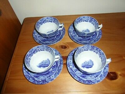 Vintage Spode Blue Italian Breakfast Cups And Saucers X4