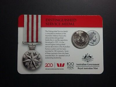 2017 ANZAC legends 20c DISTINGUISHED SERVICE MEDAL Card MINT Coin 20cent
