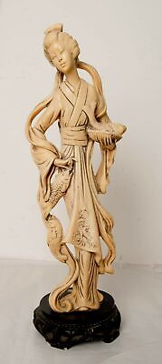 Resin Oriental Female Figure/Statue with Fish Catch