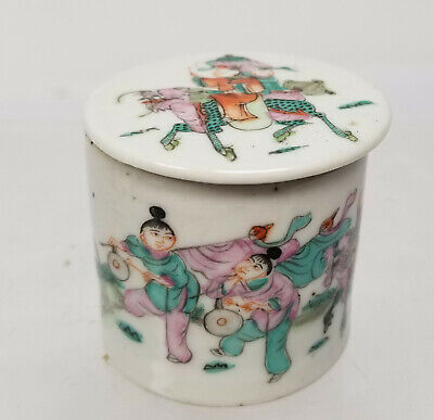 Antique Chinese Small Famille Rose Enamel Porcelain Covered Jar Dish
