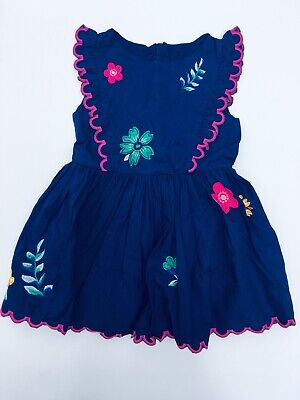 Boden Scallop Embroidered Dress Ex Mini Boden Blue floral Age 2-12 Years RRP £35