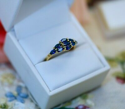 Art Deco Vintage Jewellery Ring Blue Sapphires Antique Jewelry Size O1/2