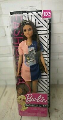 Barbie Fashionistas Doll - Original with Black Hair & glasses, new and sealed