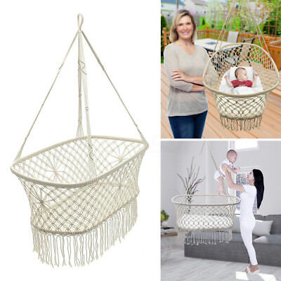 White Rope Hanging Hammock Swing Bed Baby Child Cot Cradle Portable Bassinet !