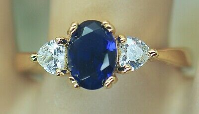 Art Deco Antique Jewellery Ring Blue White Sapphires Vintage Jewelry Size P