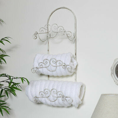 White rustic metal towel roll holder rail shabby chic bathroom decor accessories