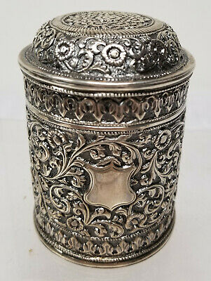 Antique English Anglo-Indian Indian Repousse Silver Tea Caddy Floral Colonial