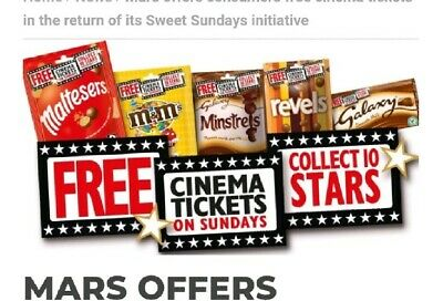 sweet sunday codes for 6 x cinema tickets:Cineworld Empire Showcase Reel