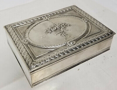 Antique Sterling Silver French Hallmarked Tobacco Table Snuff Jewelry Box Cigar