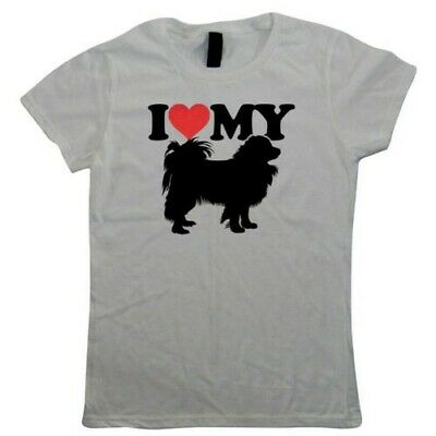 I Love My Papillon Womens T-Shirt - Dogs Gift Her Mum