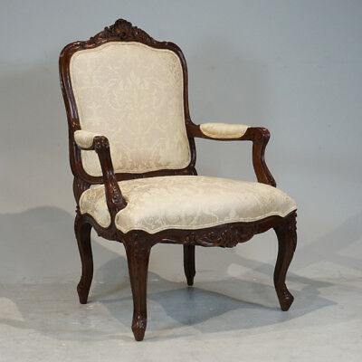Beautiful Pair of Mahogany wood Hand Carved French Arm Chairs