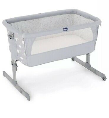 New Chicco Next To Me / Next2Me Crib - Grey / Silver - Circles Design Rrp £189