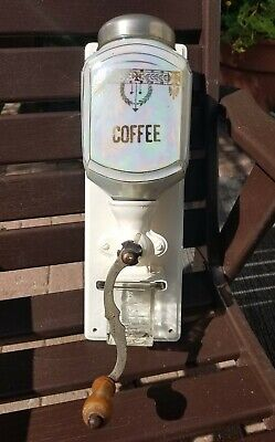 Vtg Art Deco Steampunk Wall Mount White Porcelain Coffee Grinder Germany *flaw*