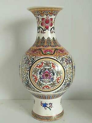 Chinese Antique Hand Painting FLOWER Glazed Porcelain Vase with Dragon Pattern