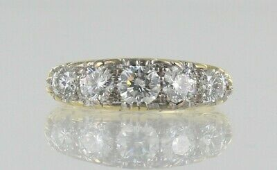 Hallmarked 18ct Yellow Gold Diamond Victorian Style Ring Assessed at 1.31ct