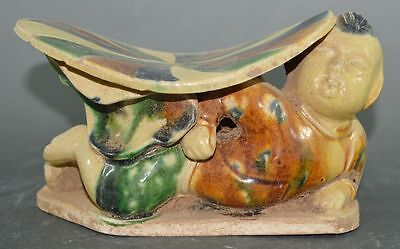 China Tang Dyn Tomb Burial Clay Statue Thi-Colored Glazed Pottery Pillow Statue