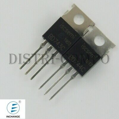 BD743C BD744C Transistor NPN PNP 100V 15A TO-220 Inchange RoHS (Lot de 2)
