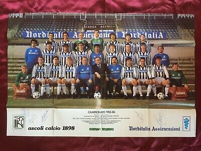 6 Autografi originali ASCOLI CALCIO 85/86 su Poster 80x53cm-RARISSIMO!-IN PERSON