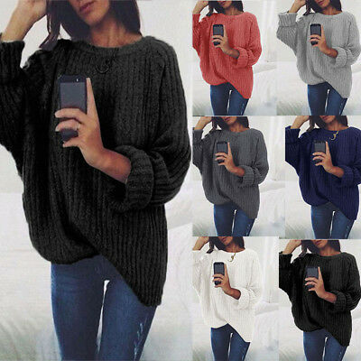Women Winter Round Long Sleeve Baggy Top Chunky Knitted Sweater Pullover Jumper