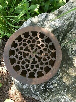 Vintage Antique Cast Iron Round Covered Floor Grate Register Vent Cover