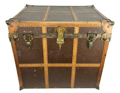Antique Victorian Luxury Louis V-style Gilded Age Bonnet Steamer Trunk Luggage