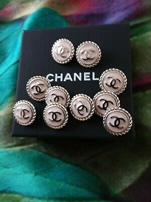 💗CHANEL BUTTONS  lot of 2   Light pink 17 mm 0,6 inch  Logo CC  metal