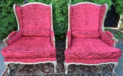 1930s Pair of French Country Oak wood living room wing back Arm Chairs