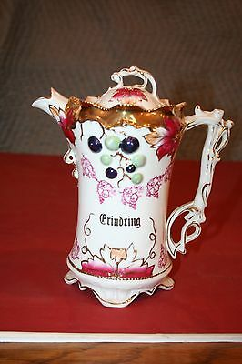 "Antique Fine 9"" Tall German Baroque Style Porcelain Lidded Teapot - ""Grindring"""