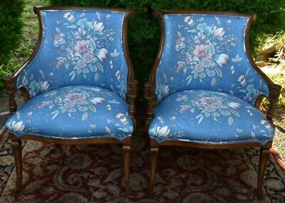 1950s pair of Regency style Mahogany living room chairs / New Upholstery