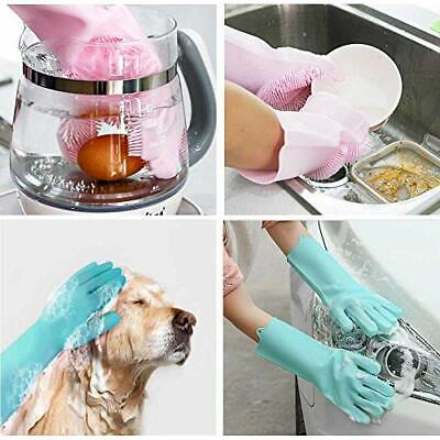 Magic Silicone Rubber Dish Washing Gloves Kitchen Gloves Cleaning Scrubber
