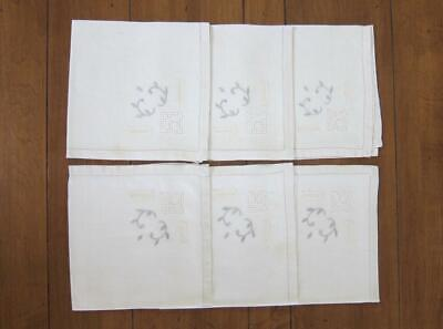 "(6) Vintage Off White Cream Embroidered Linen Hemstitch Napkins 16"" x 16"""