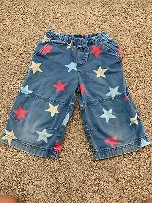 Boys Mini Boden Star shorts red white and blue 5-6 Years Distressed Look