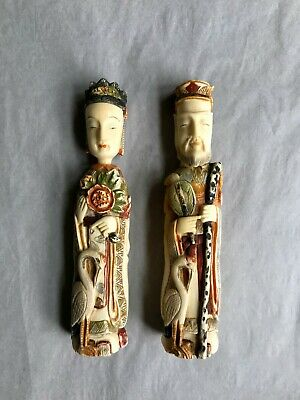 Vintage Rare Polychrome Asian Empress and Emperor Hand Carved Snuff Bottles