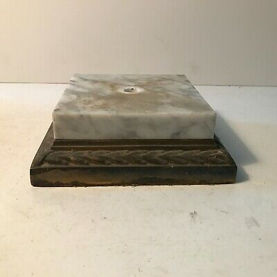 Antique brass plated cast alloy square lamp base with marble insert ornate
