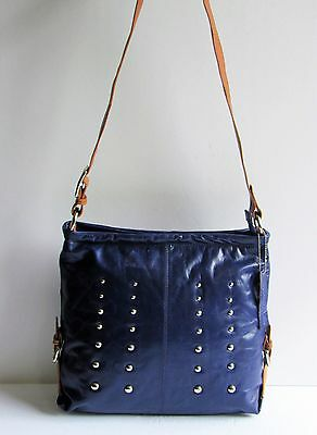 Nino Bossi Gorgeous New Navy Blue Studded Leather Tan Trim Large Cross Body Bag