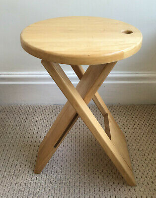 """Small Folding Solid Wood/Wooden Stool 18"""" Tall Opened Swansea Pick Up Available"""