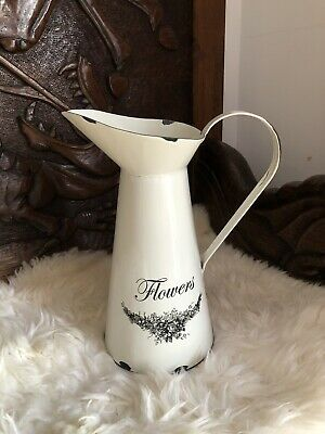 Quality Antique Vintage Distressed Style Metal Tin Flowers Jug Vase Shabby Chic