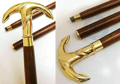Victorian Brass Ship Anchor Handle Walking Canes Stick Nautical Wooden Stick